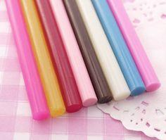 8 x Mixed Colour Deco Sauce Decoden Hot Melt Glue Sticks (7.5mm) 10cm (1068) on Etsy, $4.18 AUD