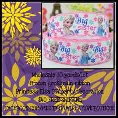 WHOLESALE 50 YARDS LOT FROZEN GROSGRAIN RIBBON PRINCESS ELSA DIY PARTY DECORATION $40 FREE SHIPPING FACEBOOK.COM/MISSIBRINACREATIONSBOUTIQUE  FACEBOOK.com/groups/suppliesmore/