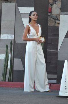 e2d0adb57e2e Spott - Olivia Culpo looks stunning in a satin-backed crepe Jumpsuit by  Rachel Zoe