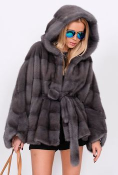 2015 MILANO GRAPHITE SUPERIOR SAGA MINK FUR PONCHO CLAS OF JACKET COAT SABLE FOX #MARCOGIANOTTIMILANO #Ponchos