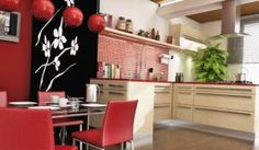 white and red oriental kitchen ideas in modern and contemporary design