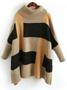 Color Block Side Slit Turtleneck Sweater - MULTICOLOR ONE SIZE