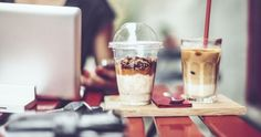drink in focus, background blurred showing scene of coffee shop work session, maybe pastry, etc Digital Tablet, Useful Life Hacks, French Press, Business Women, Coffee Shop, Make It Yourself, Canning, Simple, Easy