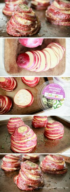 Thinly slice 2 red potatoes & divide into 4 stacks. Between each slice add a layer of GOODFOODS Artichoke Jalapeño Dip. Place potato stacks on an oil sprayed baking sheet. Top each potato stack with a drizzle of olive oil, a sprinkle of salt, pepper, & dried parsley. Bake at 375 degrees Fahrenheit for 45 minutes or until the potatoes are tender. Let cool & enjoy! #ShareTheGoodness #GoodFoods #Ad @ilovegoodfoods