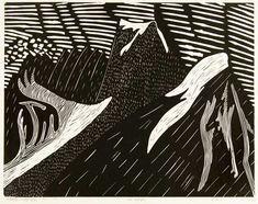 Arnold Shives, Mt. Raleigh (1974), linogravure sur papier [Burnaby Art Gallery, Burnaby BC, 24 mai-26 juin] Ville de Burnaby permanent Art Collectio ...