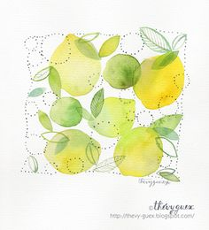 Yellow Lemon and Lime Cluster Original Watercolor Painting Kitchen Fruit Art Home Decor by thevysherbarium on Etsy https://www.etsy.com/listing/191739296/yellow-lemon-and-lime-cluster-original