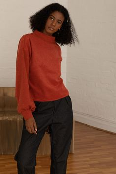 The Kona jumper is your must have statement piece; uniquely made from soft Japanese wool and ribbing. A piece you can wear for many winters to come. Red Jumper, Knitwear Fashion, European Fashion, Sustainable Fashion, Wool Blend, Burns, Women Wear, How To Wear, Fashion Design