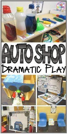 Auto Shop Dramatic Play - Pocket of Preschool - Dramatic Play - Auto Shop! How to change your dramatic play center an Auto Shop in your preschool, pre-k, and kinde - Preschool Centers, Preschool Themes, Preschool Learning, In Kindergarten, Preschool Classroom, Summer Activities, Family Activities, Cars Preschool, Creative Curriculum Preschool