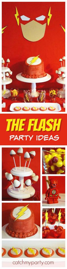 Check out this awesome The Flash birthday party! The dessert table and backdrop are gorgeous! See more party ideas and share yours at CatchMyParty.com