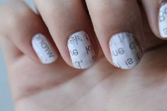Newspaper nails.  STEP 1: What you need:  White (or light) nail polish, rubbing alcohol, newspaper, clear nail polish (top coat).