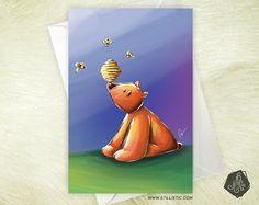 Carte de voeux Amitié Anniversaire Ourson et abeilles