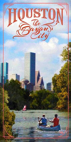 "Houston, besides being known as ""Space City"" is also know as ""The Bayou City"". Poster from www.etsy.com/shop/texasposter"