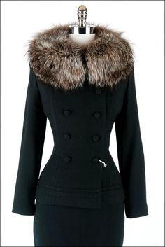 1940   Black Wool Gabardine Suit with Fox Fur Collar by Lilli Ann