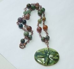 Dragonfly pendant necklace  Fancy Jasper by thebeadedcottage, $38.00