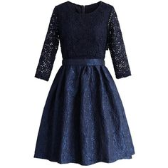 Chicwish Daisy World Embossed Dress in Navy ($68) ❤ liked on Polyvore featuring dresses, chicwish, blue, daisy-print dress, cutout dress, daisy dress, crochet dress and cut out sleeve dress