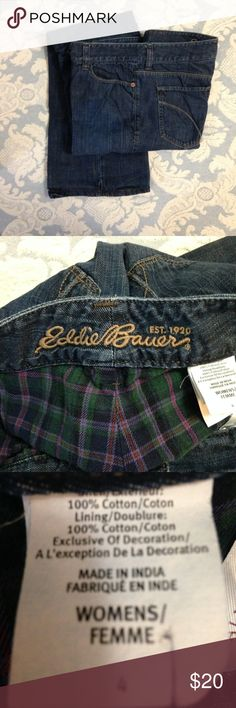 SALE! Eddie Bauer jeans Flannel lined jeans. Size  4 jeans have a boot cut leg with 31 inch inseam.  Front rise is 9  inches from the crotch SEAM and the waist is 15 inches side to side laying flat. EUC!! No rips, stains, pills or holes. Clean and ready to wear from my smoke free and pet friendly home. Eddie Bauer Jeans