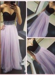 Timeless A-Line Sweetheart Long Tulle Lavender Backless Prom Dress With Beading