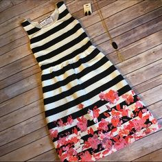 NWT Black White Stripe Floral Trim Dress This dress is great quality! They're so trendy for the season! They run large, and model is wearing size small, clipped. Paperback Boutique Dresses