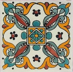 Our decorative Green Leaf Talavera tiles with hand painted pattern are all made in Mexico. Handmade Tiles, Handmade Pottery, Tile Art, Mosaic Art, Mexican Ceramics, Talavera Pottery, Mexican Art, Mexican Tiles, Arabesque