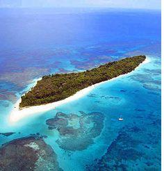 Aerial view of Zapatilla Island in Bocas del Toro, Panama