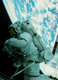 Great shot of astronaut with Earth in the background.