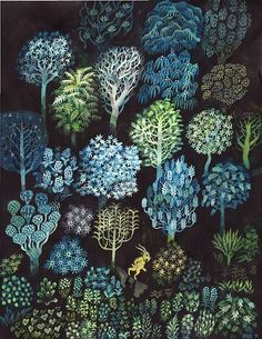 Brecht Evans, Forest. inspo for shapes/illustation/pattern on suki tea box. not the colours