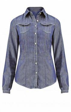 Γυναικείο πουκάμισο denim  POUK-1634 Γυναίκα - Jeans & Demims - Πουκάμισα Denim Button Up, Button Up Shirts, Jeans, Tops, Fashion, Moda, Fashion Styles, Fashion Illustrations, Denim