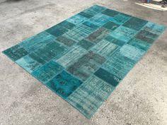 Distressed  Patchwork Rug, Blue Rug, Carpet, 7x9'9ft, Anatolian Rug, Patchwork Carpet, 214x304cm, Oushak Rug, Area Rug by EclecticRug on Etsy