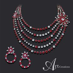 @artcreationsjewelry. Magnificent Ruby and Diamond Set from Art Creations.