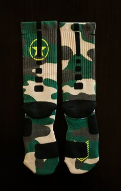 "Custom Nike Elite Socks - Thesockgame.com — Foamposite ""Army Camo"" Custom Nike Elite Socks"