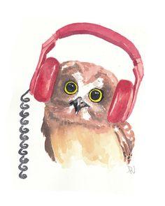 Owl Watercolor PRINT - Music Art, Headphones, Open Edition Print, 8x10