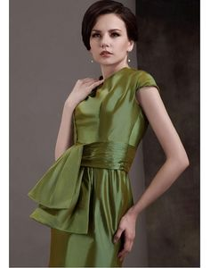 Cheap Amazing Taffeta Sheath Round-Neckline Detachable Sashes/Ribbons Short-Sleeves Mother of The Bride Dress