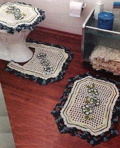 PINK ROSE CROCHET /: Jogo de Tapetes de Crochê para Banheiro