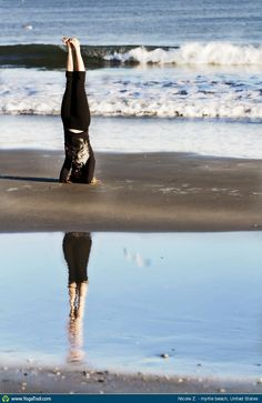 "Yoga Poses Around the World: ""Headstand reflection on Myrtle Beach, USA"""