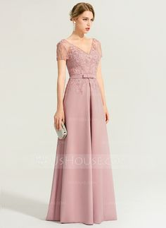 JJsHouse A-Line/Princess V-neck Floor-Length Stretch Crepe Evening Dress With Beading Mauve Magic! Burgundy Bridesmaid Dresses Long, Pink Prom Dresses, Gala Dresses, Pretty Prom Dresses, Elegant Dresses, Grey Evening Dresses, Hijab Evening Dress, Mothers Dresses, Mother Of Groom Dresses