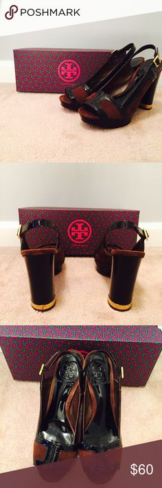 Tory Burch Gemma Suede Brown & Black Gold Heels ✔️ very good condition, normal wear on bottom, have been worn three times ✔️ size 6.5 ✔️ brown suede and black slingback heels are beautiful for a night out or a regular day at work Tory Burch Shoes Heels