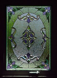 Victorian bathroom stained glass  window panel with bevels.