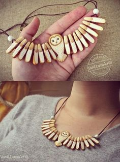 """Barn Owl necklace / """"Złota"""" sowa na szyję Wooden Jewelry, Handmade Jewelry, Owl Crafts, Owl Necklace, Bone Carving, Bijoux Diy, Jewelry Crafts, Jewelery, Creations"""