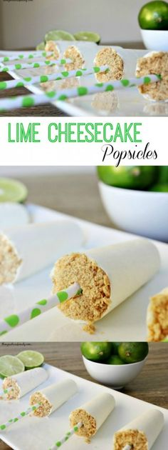 Lime Cheesecake Popsicles are the perfect dessert made with yogurt and no sugar. Cheesecake Popsicles, Lime Cheesecake, Cheesecake Recipes, Dessert Recipes, Frozen Desserts, Just Desserts, Cold Desserts, Yummy Treats, Pie Cake