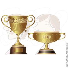 Trophy Cup Gold Trophies Winner First Prize Place Sports Achievement Award Business Success Celebration Champion Competition Clipart 10284