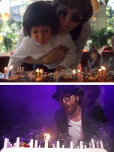 Aww! Sean Lennon and John shared a birthday. Above, I believe Sean's 4th of 5th bday. Look at the image next to Sean's shoulder to his left..spooky