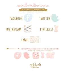 Image of Hand Drawn Social Media Icons -Painted