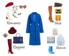 Blue coat by lamicinna on Polyvore featuring мода, Alexander McQueen, Sam Edelman, Victoria Beckham, Chloé, Balenciaga, Longchamp, MICHAEL Michael Kors, Current Mood and Gucci
