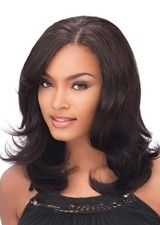 Sleek Mid-length Layered Wavy Lace Front Wig
