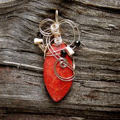HEART AND SOUL - Gold Wire Wrapped Fossilized Red Coral Pendant by Care More, via Flickr
