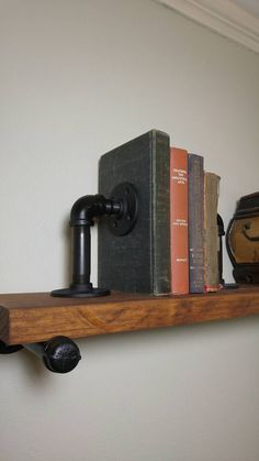 Industrial Pipe Bookend, Steampunk Bookend, Black Iron Pipe Bookend, Book End