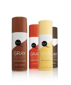 Gray Away, an ammonia- and peroxide-free mineral-pigment spray that conceals gray regrowth until your next shampoo. Comes in four shades & is good for 40 uses.