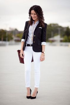 Alterations Needed :: Spring Black - White pants, blue striped shirt, black blazer and shoes.