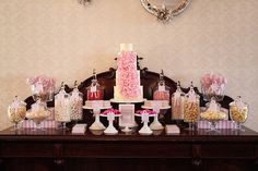 Dessert Table: a colour theme of soft pink and grey with a hint of hot pink.