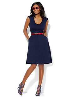 Shop V-Neck Cotton Flare Dress. Find your perfect size online at the best price at New York & Company.